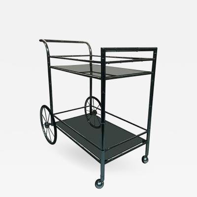 Striking Two Tier Faux Bamboo Chrome Tea Cart