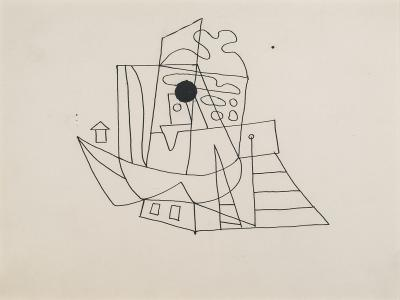 Stuart Davis Drawing for Composition with Boats