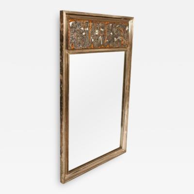 Studio Del Campo Grape Harvest Frieze Enamel Silver Frame Mirror by Studio Del Campo