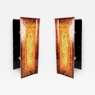 Studio Del Campo Mid Century Modern Italian Glass Door Handles Enamel Art Studio Del Campo 1960s