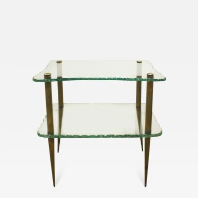 Studio Made Beautiful 2 Tier Console Table in Hand Chipped Glass 1950s