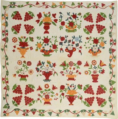 Stuffed Applique Album Quilt Circa 1870 Pennsylvania
