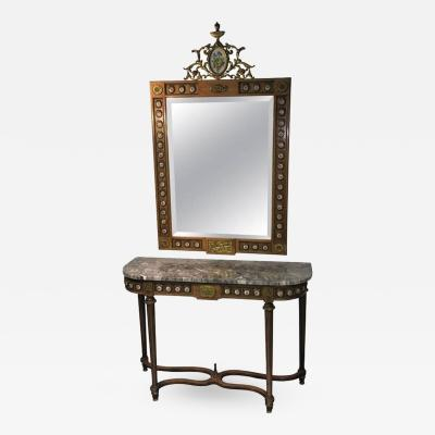 Stunning 1940s Brass and Sevres Style Porcelain Plaque Mirror and Console