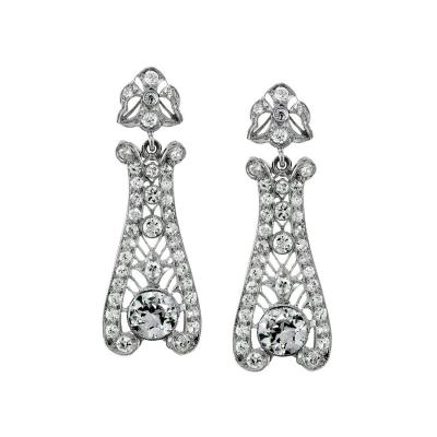 Stunning Art Deco Diamond Drop Earrings