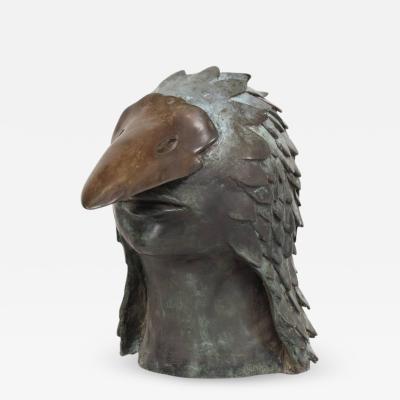 Stunning Brutalist Bronze Sculpture of a Bird Mans Head Mexico 1960s