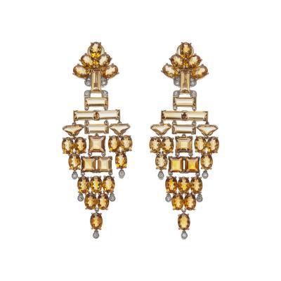 Stunning Citrine Diamond Chandelier Earrings