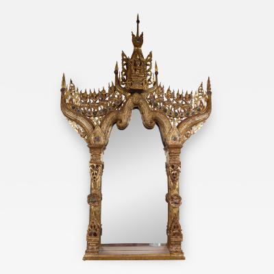 Stunning Gilded Wood Burmese Mirror