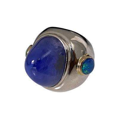 Stunning Gold Sapphire Opal Custom Ring C 1970