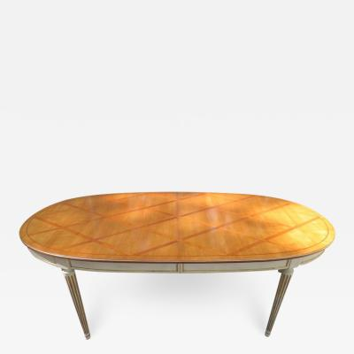 Stunning In Laid Lattice Top Racetrack Dining Table Hollywood Regency