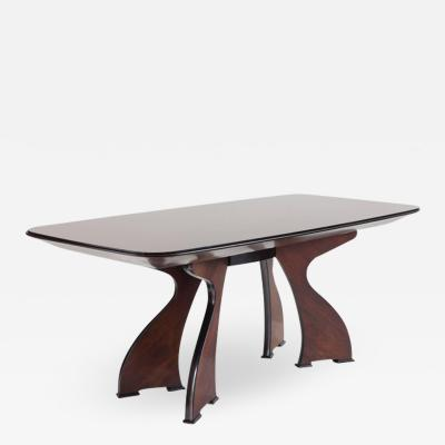 Stunning Italian Modern Rosewood and Black Opaline Glass Dining Table 1940