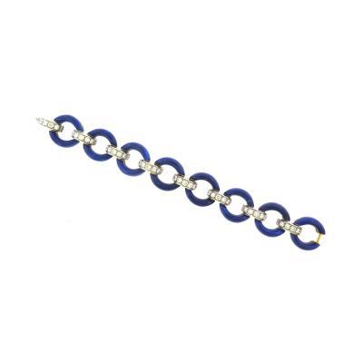 Stunning Lapis Lazuli and Diamond Bracelet