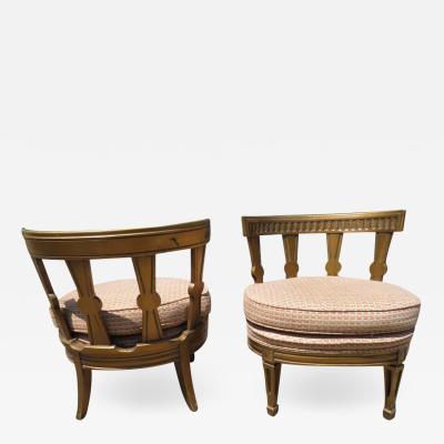 Stunning Pair Hollywood Regency Maison Jansen style Slipper Chairs