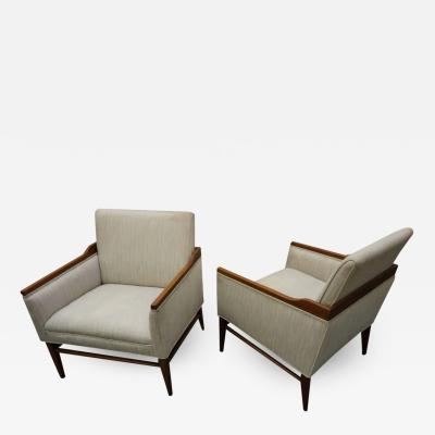 Stunning Pair of American Mid Century Modern Walnut Lounge Chairs