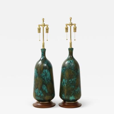 Stunning pair of Large Italian Ceramic Lamps