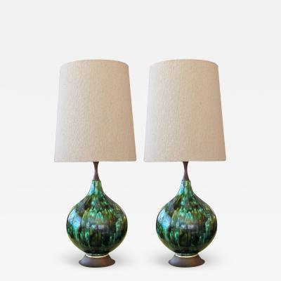 Stunningly Large Pair of American 1960s Olive Green and Teal Drip Glaze Lamps