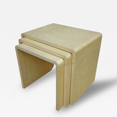 Style of Jean Michel Frank Parchment Stacking Tables