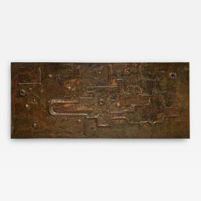 Style of Sabatier awesome 50s repouss Copper decorative panel