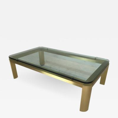 Stylish 1970s Brushed Brass Coffee Table with Round Corners