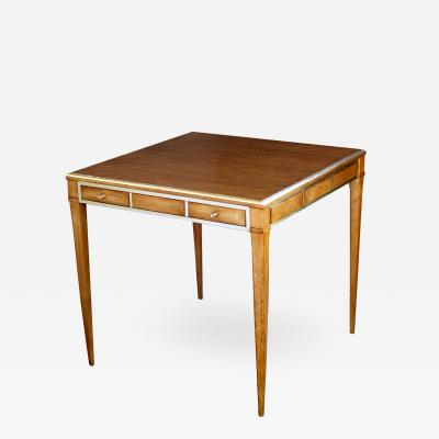 Stylish American Walnut Single Drawer Square Game Table with Brass Detailing