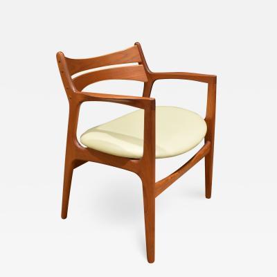 Stylish Danish Desk Chair In Teak 1950s Signed
