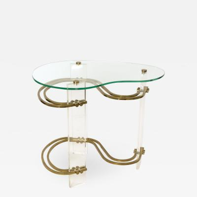Stylish Kidney shaped Glass and Lucite Side Table with Brass Stretchers