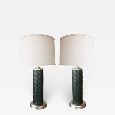 Stylish Pair of American 1940s Cylindrical form Leather clad Lamps