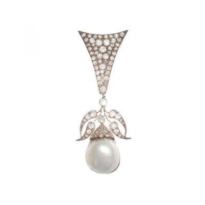 Stylish Victorian Pearl Diamond Gold Silver Brooch Pendant
