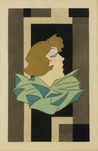 Stylized Art Deco Gouache of a Woman France 1920s