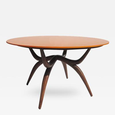 Stylized Mid Century Game Table with Vitrolite Glass and Felt Playing Top
