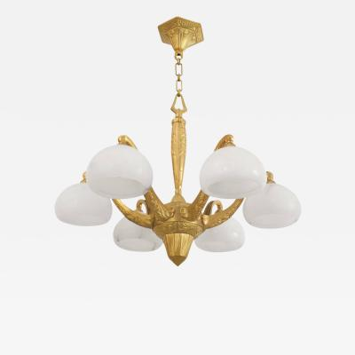 Sue et Mare French Art Deco Gilt Bronze Six Arm Chandelier Attributed Sue et Mare