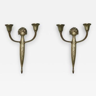 Sue et Mare Pair of French Gilt Bronze Two Light Wall Sconces by Sue Et Mare