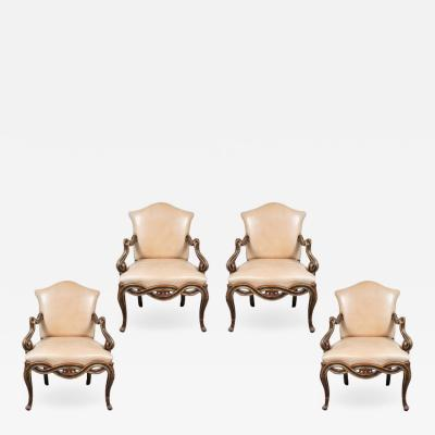 Suite of Antique Painted Venetian Chairs