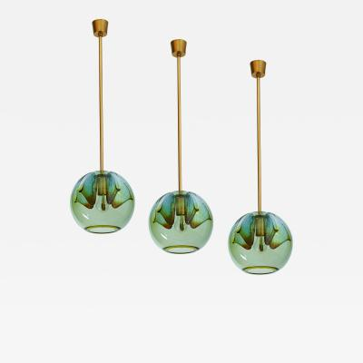 Suite of Four Blown Colored Glass Pendant Lanterns