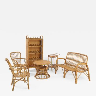 Suite of Italian Rattan Furniture Settee Pair of Chairs Wine Shelf Bar Cart