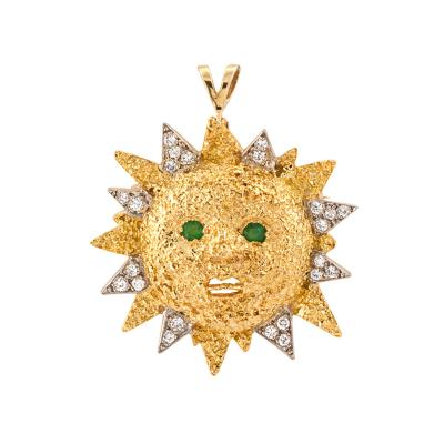 Sun Brooch Pendant 18 Karat Gold