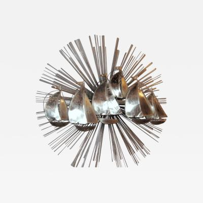 Sunburst Shaped Moderne Wall Sculpture Sconce