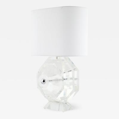 Super Heavy Faceted Lucite Table Lamp