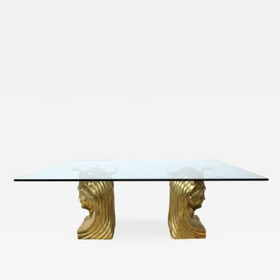 Superb Bronze Pharaoh Head Dining Table
