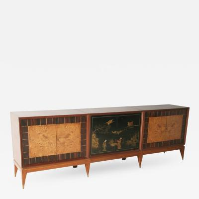 Superb Italian Six Door Mixed Wood and Chinoiserie Buffet