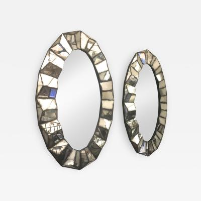 Superb Pair of Old Oxidized Faceted Mirrors