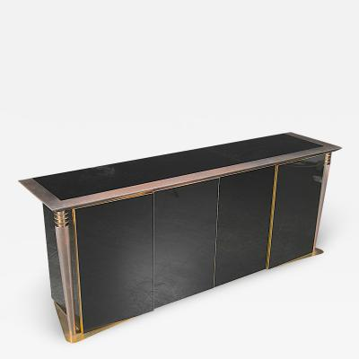 Superb design 4 door cabinet with beautiful gold bronze and brushed steel accent