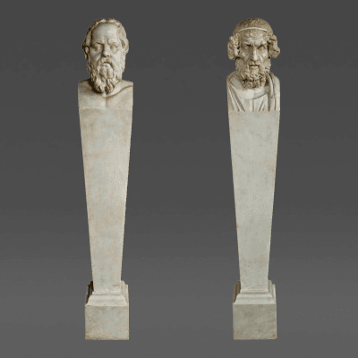 Superbly Carved Pair of Neoclassical Marble Terms