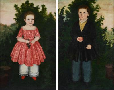 Susan Catherine Moore Mrs WIlliam Waters PAIR OF PORTRAITS OF THEODORE AND ANN ELIZA COLLINS