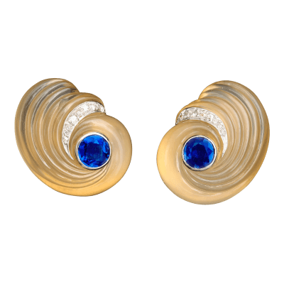 Suzanne Belperron Carved chalcedony sapphire diamond earrings circa 1942