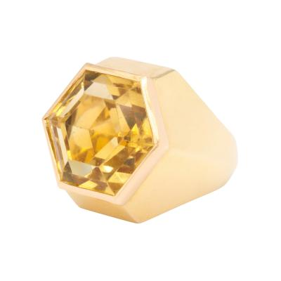 Suzanne Belperron Citrine and 18K Gold Ring