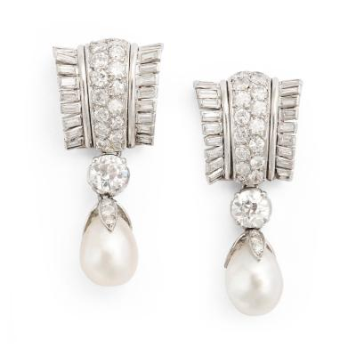 Suzanne Belperron Natural Pearl and Diamond Earrings in Platinum