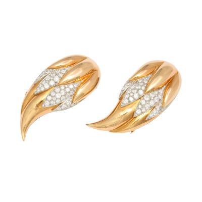 Suzanne Belperron Pair of Diamond 18K Gold Flame Clips by Suzanne Belperron Circa 1940