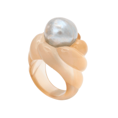 Suzanne Belperron Rare Suzanne Belperron Agate and Pearl Ring