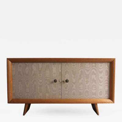 Suzanne Guiguichon French 1950s Sycamore and Original Fabric Buffet by Suzanne Guiguichon