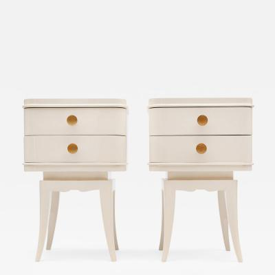 Suzanne Guiguichon Pair of Cream Lacquered Nightstands